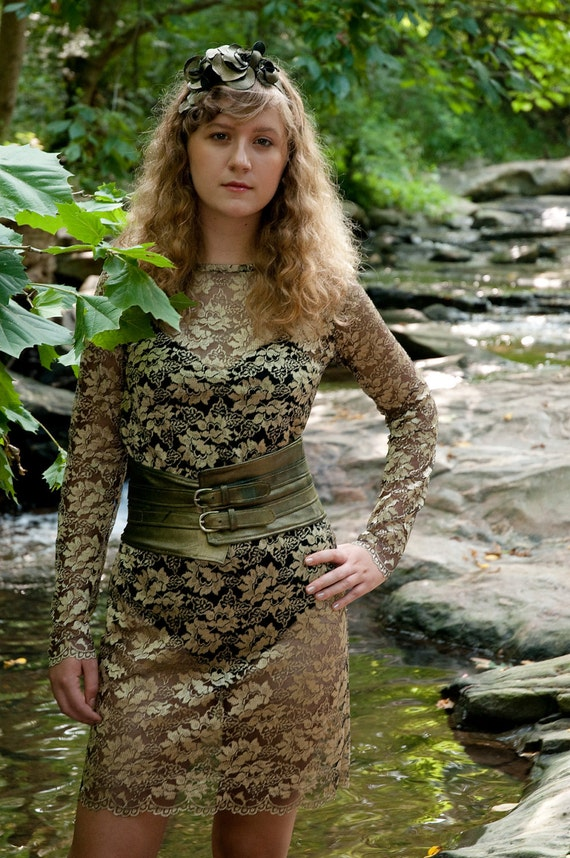Ophelia's Soliloquy Gold Lace Dress