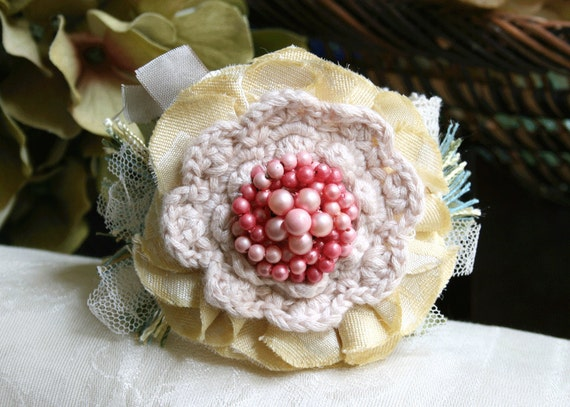 Flower Cuff Bracelet Wrist Corsage in Soft Pastels Shabby Chic