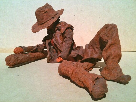 Garden Sculpture Australian Bushman brown indoor,outdoors