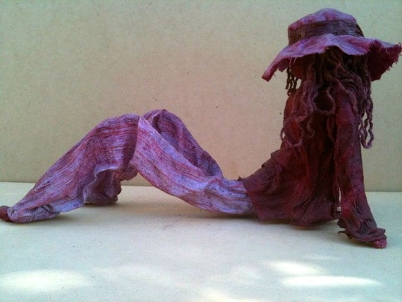 Hippy Sculpture Fabric Garden Art Maroon indoors,outdoors