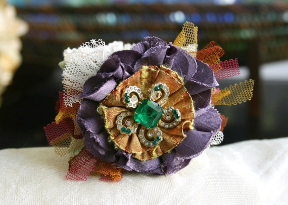 Fabric Cuff Bracelet Flower Corsage in Emerald Green and Purple