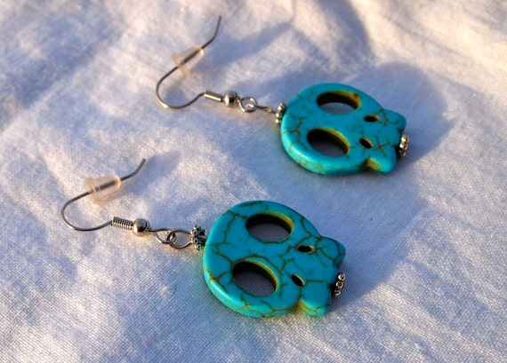 Turquoise Blue Magnesite Flat Skull Earrings