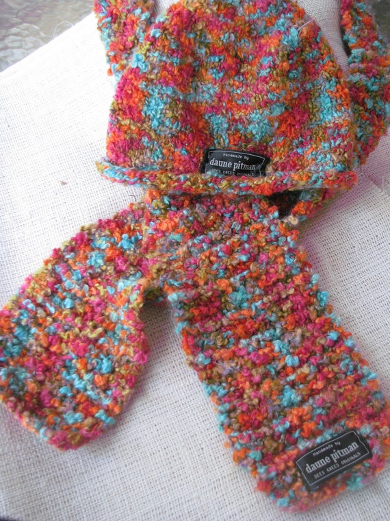 Hand Knit Boucle Hat and Scarf Set