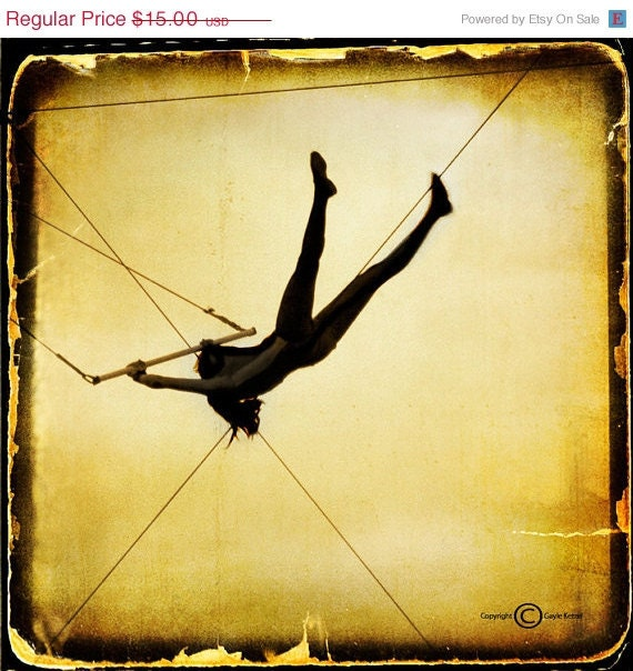 20% OFF Gold Circus Silhouette Photograph--Just Like Flying--5x5 Fine Art