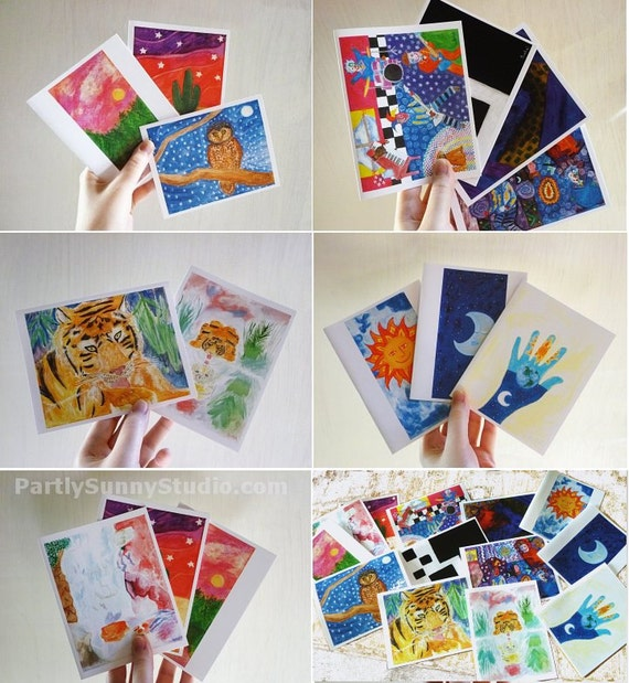 Note cards Animals Abstracts Landscapes set of 13 with envelopes