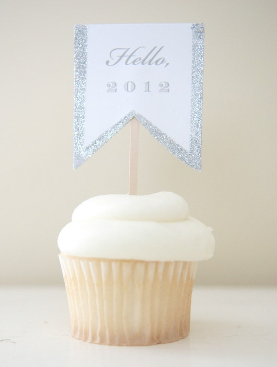 New Years Glittered Cupcake Topper Collection