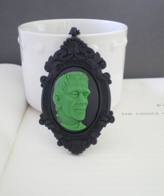 Frankenstein Necklace. Halloween. Cameo Jewelry. Green on Black. NEW ITEM