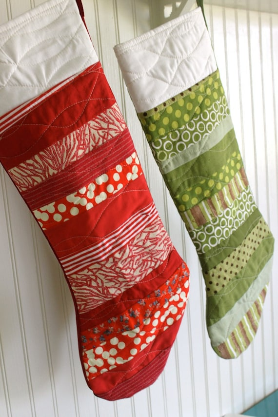 Modern Red Christmas Stocking