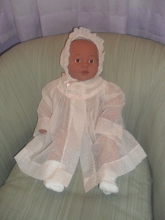 Vintage Pink Baby Over Dress with Bonnet