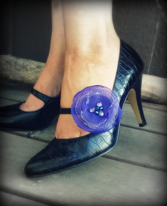 Chiffon Flower Shoe Clips-Elegant Purples