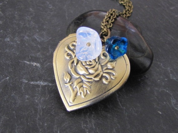 Rose heart locket necklace in antique brass