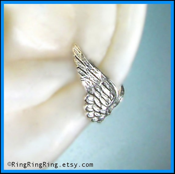 Tiny silver Angel wing ear cuff earring jewelry, Earcuff for men and women, Birthday gift
