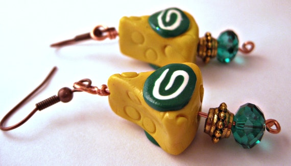 Green Bay Packers Cheese Head Earrings Jewelry