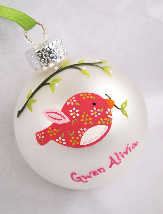 Pink Birdie Personalized Ornament