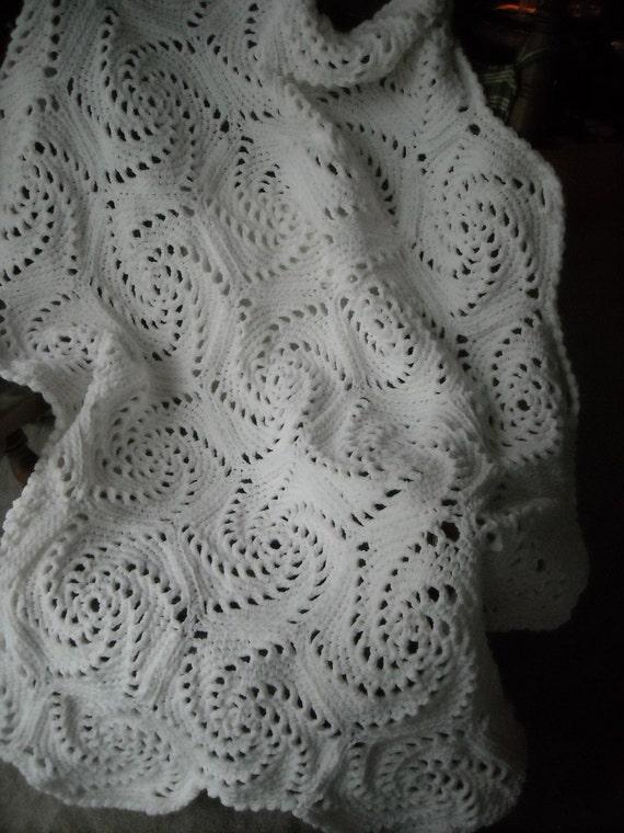White Spiral Afghan