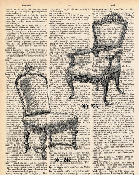Vintage Dictionary Chairs Print - Vintage Chairs plus FREE 5x7 monogram