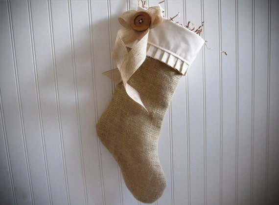 Shabby Chic Christmas Stocking in Burlap - Ships in 2012