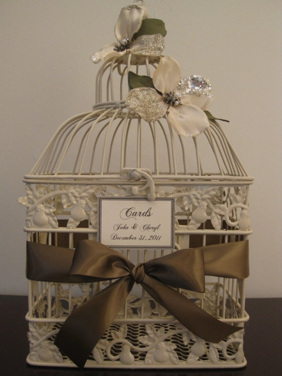 Beautiful Antique Style Ivory Bird cage / Wedding Card Holder Birdcage  / Wedding Birdcage / Decorative Bird Cage