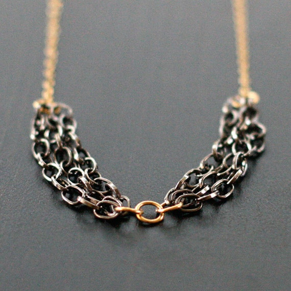 banquet - gold and gunmetal necklace by elephantine
