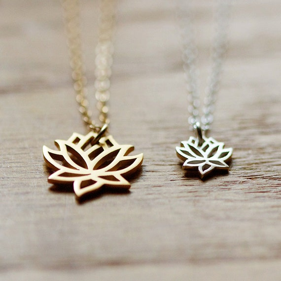 two loves - silver and gold lotus necklace set by elephantine