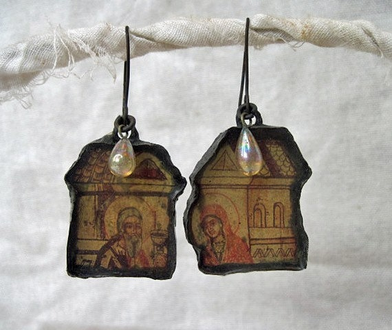 Behind the Darkness of Strange Initiations. Rustic Soldered Resin Earring.