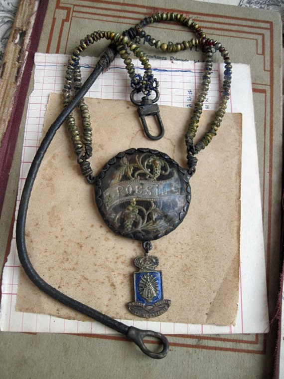 Poesy. Antique Soldered Assemblage Necklace.