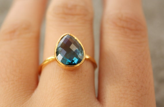 Gold Blue Topaz Ring - Teardrop Shape - Stacking Ring, December Birthstone, Black Friday Etsy, Cyber Monday Etsy