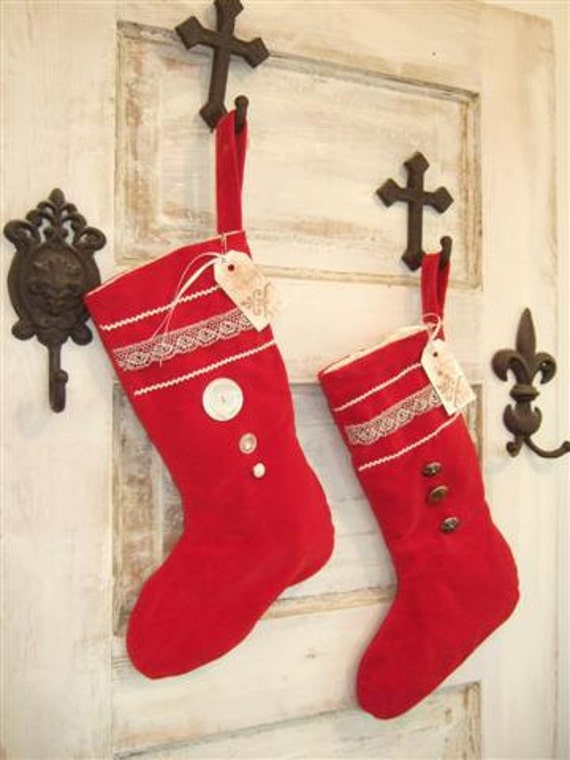 Velvet Christmas Stocking Vintage Red