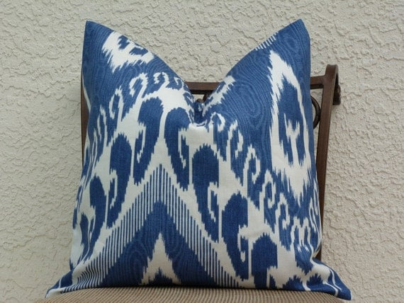 Decorative Pillow Cover - Accent Pillow - Throw Pillow - Kravet Home Decor Designer Fabric - SAME Both Sides - Blue/Winter White - Ikat