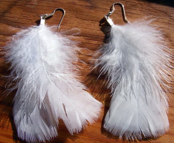 Earrings White Angel Feathers