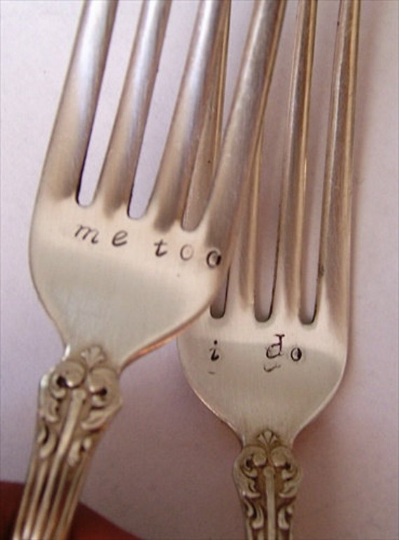 Bride and Groom Forks Vintage Wedding Cake Reception Set custom