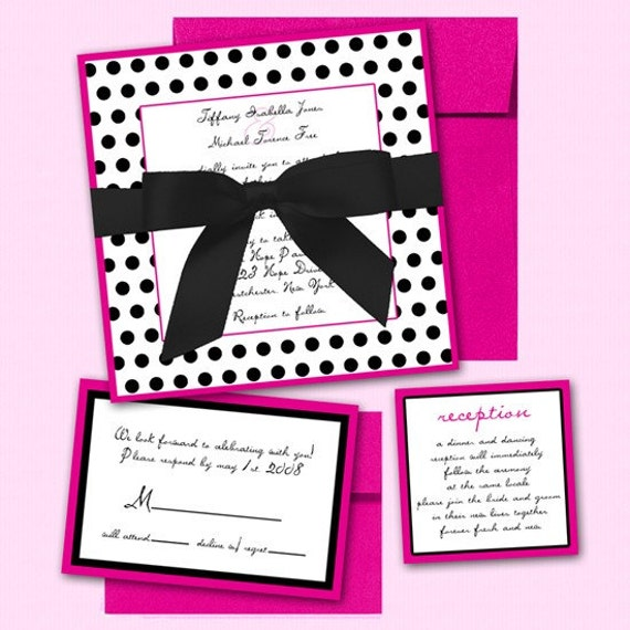 SAMPLE Pink Black and White Polka Dot Invitations Wedding Bat Mitzvah