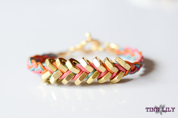 TINNLILY Sorbet Leather and Hex Nut Bracelet