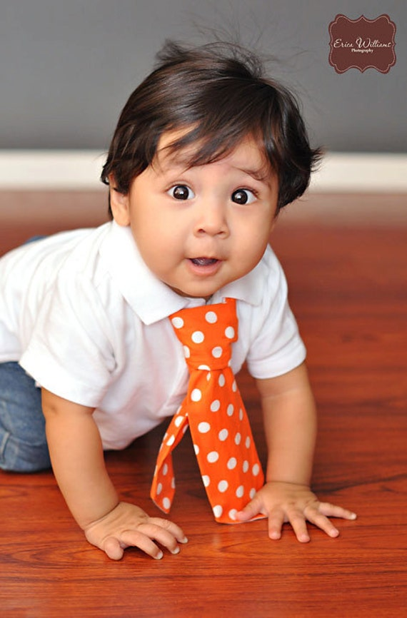 Fun To be ONE Collection  in ORANGE white dot U choose SiZe first birthday newborn toddler necktie by Bubba Mae