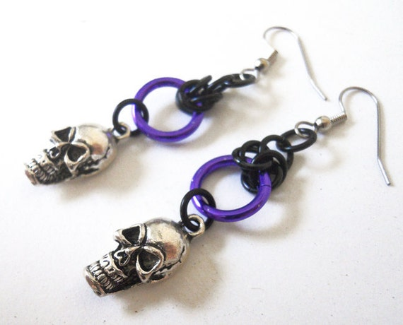 Skull earrings Halloween Gothic purple, silver, and black