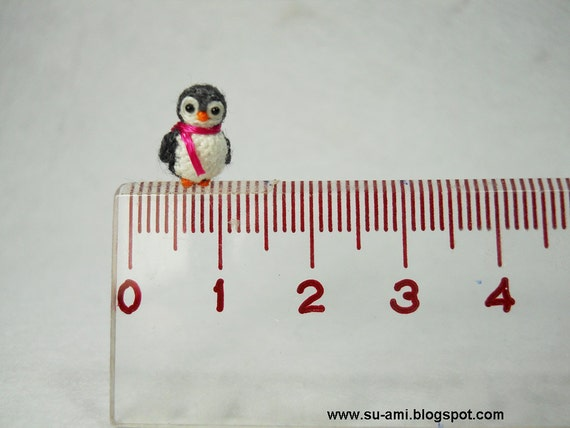Teeny Tiny Penguin - Dollhouse Miniature Bird - Grey Penguin Chick with Pink Scarf - Made To Order