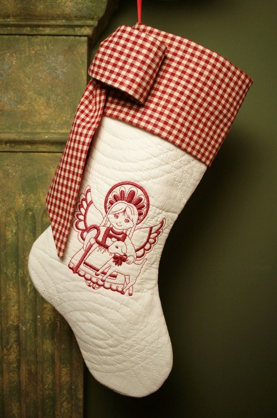 Redwork Angel and Lamb Antique Quilt Christmas Stocking - Antique Homespun Cuff and Bow