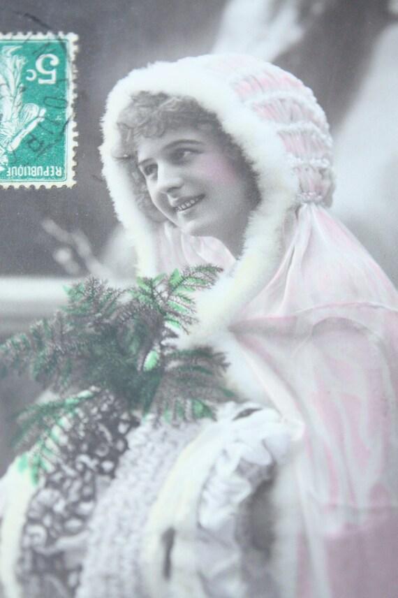 Рождество Французская Vintage Открытка - Joyeux Ноэль
