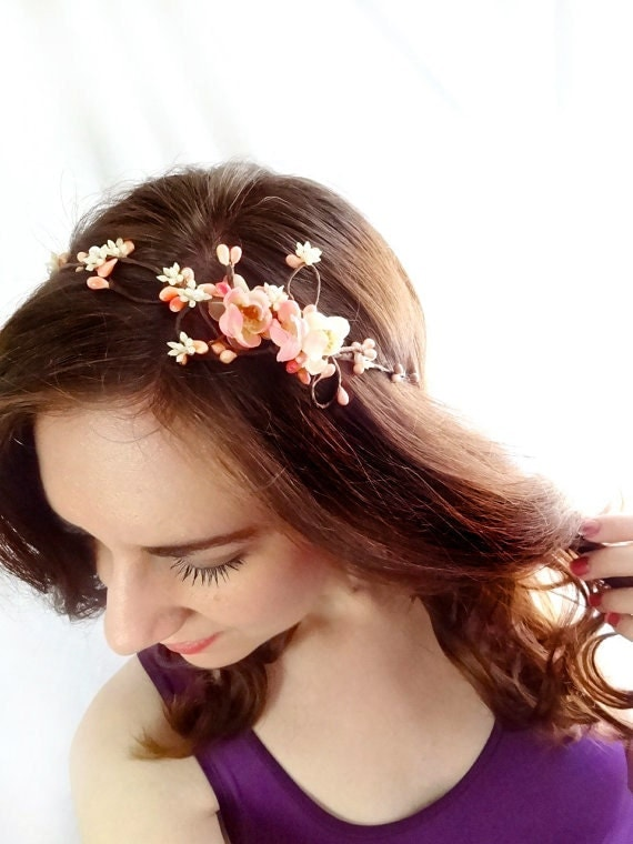 cherry blossom headband - FAIRY VINE - bridal pink floral head wreath, pearl, twigs