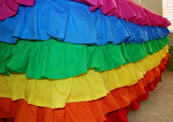 Rainbow Party  Ruffle table cloth