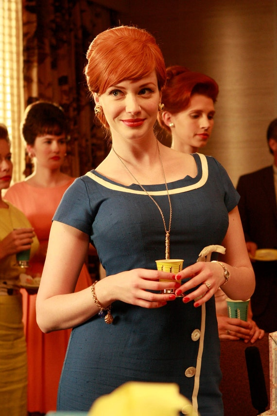 Joan Holloway Wiggle Dress-Mad Men Reproduction- Blue & White- Custom Size