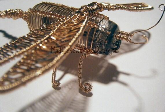 Dragonfly Wire Sculpture Creature  Vintage Vacuum Tube 001 OOAK