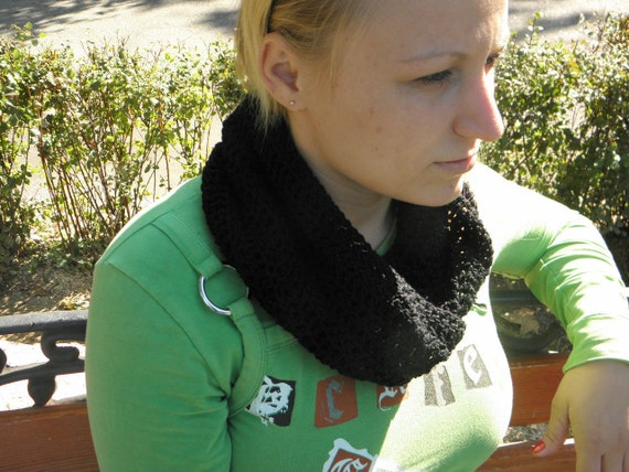 Cowl neck Scarf Cotton warmer black