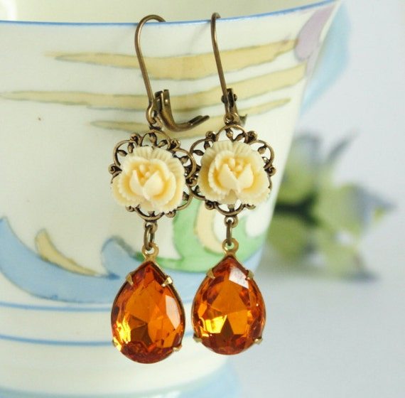 Pale Yellow Flower Earrings With Honey Amber Vintage Glass Jewels -Stunning - Free Shipping