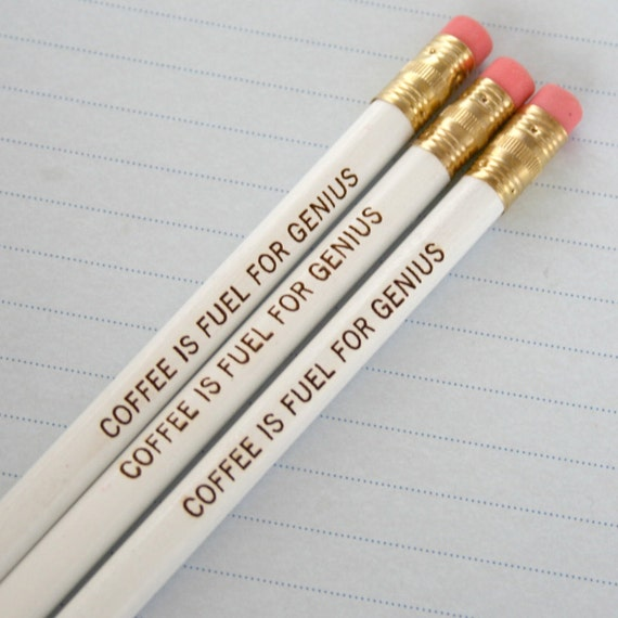 coffee is fuel for genius pencil set of three 3 in white. Jot notes, take exams, and doodle with this inspired pencil.