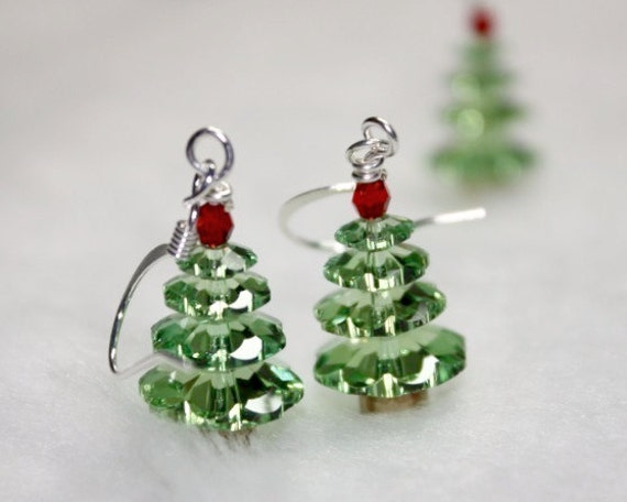 Not the Christmas Idiot Swarovski Holiday Tree earrings FREE USA SHIPPING