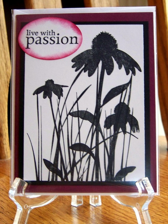 blank note card, grass and flowers silhouettes - live with passion