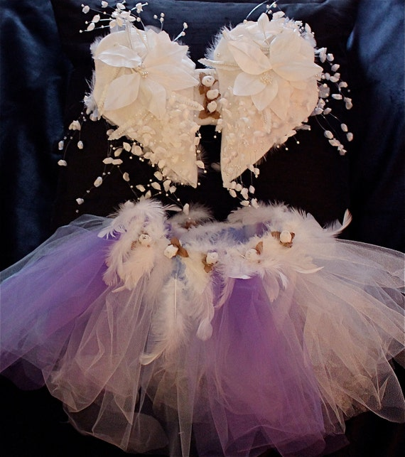 Adorable Child's Purple and White Tutu With Wings and Pearls