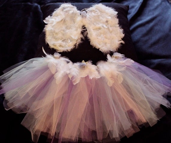 Child Angel Wings Multicoloured Tutu with Fairy Wand.