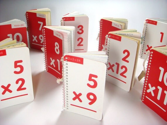 Flash Card Notebook  - white / red